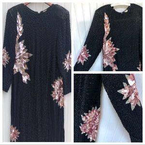 Vintage Long 100% Silk Sequin Beaded Silk Dress